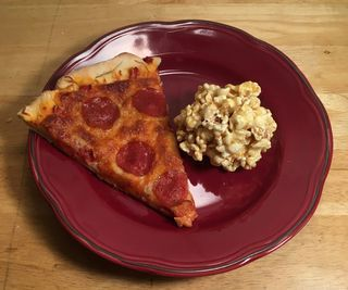 Pizza and Caramel Popcorn Dinner and Dessert