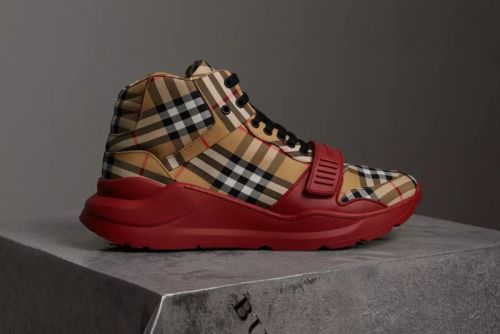 "Burberry Drops ""Vintage Check"" High-Top Sneakers"