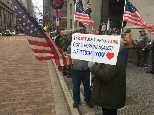 Hundreds rally in downtown Pittsburgh, some openly carrying, for gun rights