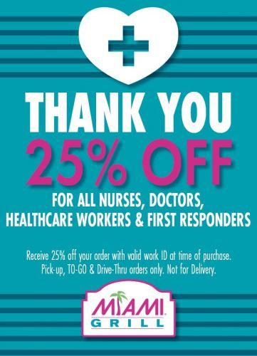 Miami Grill Extending Discount to Healthcare Workers
