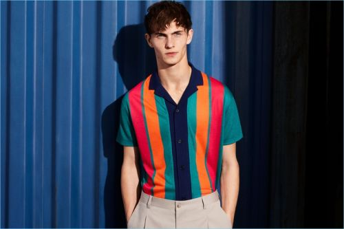 Luc Defont-Saviard Stands Out in Bold Stripes from Zara Man