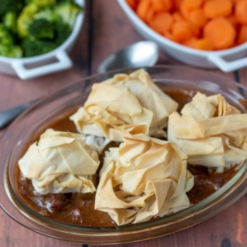 Steak Pie with Filo Pastry Topping