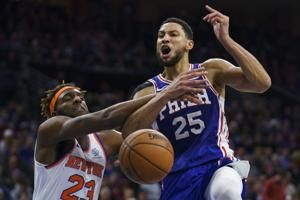 Ben Simmons hits first 3-pointer, 76ers beat Knicks 109-104