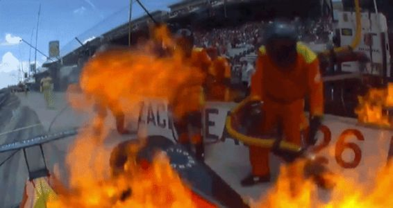 Watch An Indianapolis 500 Car Drive Out Of The Pits On Fire And Put It Out With Speed