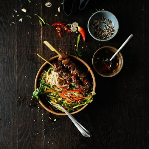 Asian noodle salad with lamb satay