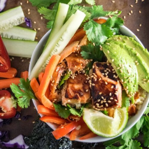 Cooked Salmon Poke Bowl