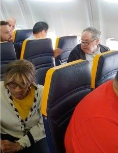 The Ryanair passenger racially abuses a woman