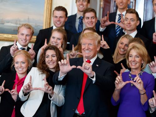 Trump hosted 18 NCAA championship winning teams to celebrate their titles and the photos were great