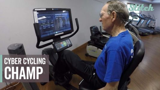 'Just keep working at it': 90-year-old pedals to national cyber cycling championship