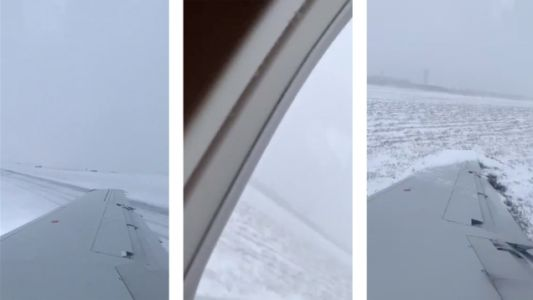 Plane Stops During Snowy Landing By Stabbing Wing Into Ground