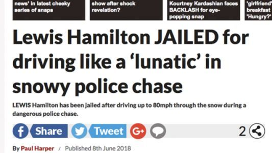 UK Tabloid Publishes Headline On 'Lewis Hamilton' Police Chase But Omits Important Detail: It's Not The F1 Driver