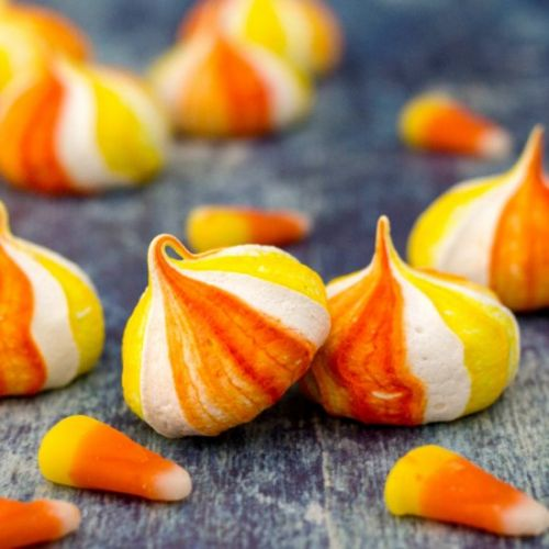 Candy Corn Inspired Meringue Cookie