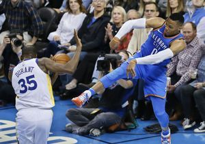 Westbrook's 34 points lead Thunder past Warriors, 108-91
