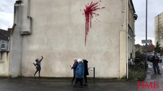 A new Banksy mural showed up just in time for Valentine's Day