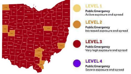 Interactive map: More counties go orange on Ohio's COVID-19 advisory system