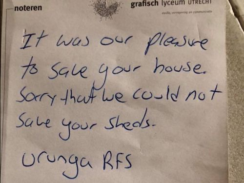 Australian firefighters left a heartwarming note apologizing for drinking a man's milk after they saved his home from devastating wildfires