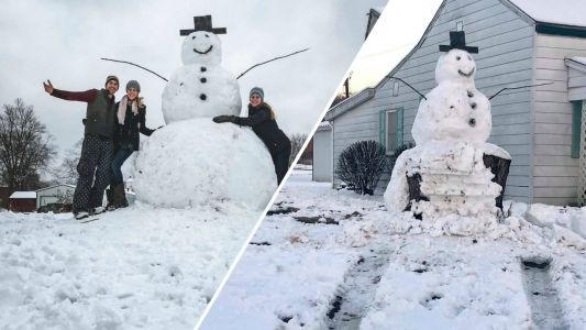 'Frosty certainly had the last laugh': Vandal tries to run over giant snowman, hits tree stump instead