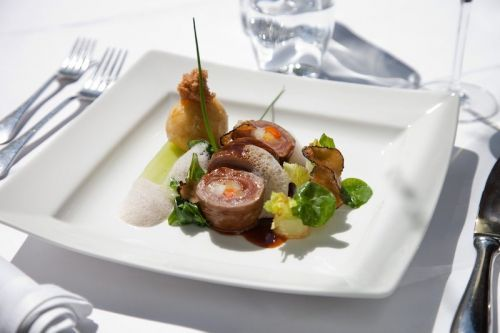 Roasted Beef Roulade with Vegetable and Potato Dumplings