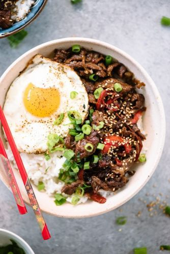 Japanese Beef and Rice Gyudon Bowls