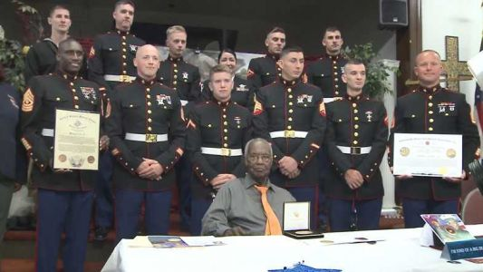 Retired U.S. Marine receives Congressional Gold Medal award