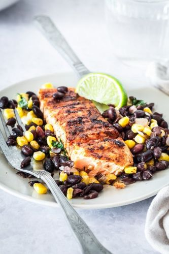 Spice Rubbed Grilled Salmon with Black Beans and Corn