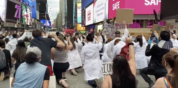 Health care workers are marching in solidarity with protesters across the US
