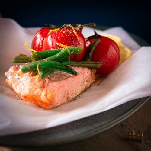 Salmon package baked in the oven