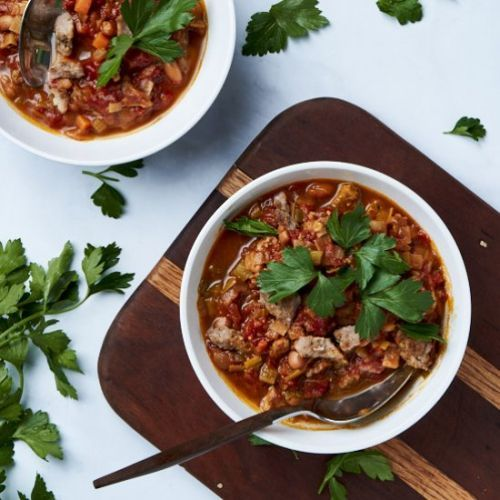 Sausage and bean soup with tomato