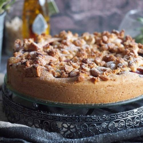 Plum and candied almond cake