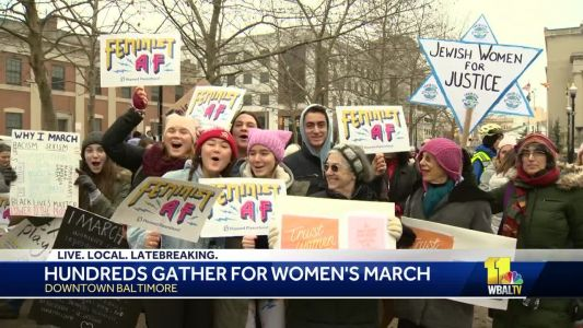 Hundreds gather for Women's March in downtown Baltimore