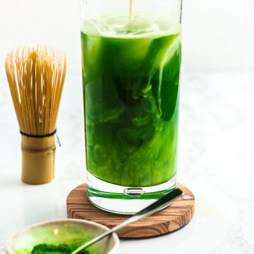 Iced Matcha water with milk