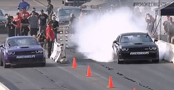 Professional Showboat Richard Rawlings Crashes A Hellcat Into A Wall During Roadkill Nights Event In Detroit