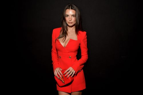 Va-Va-Voom! Emily Ratajkowski Stuns in Cleavage-Baring Red Suit-Dress at Milan Fashion Week