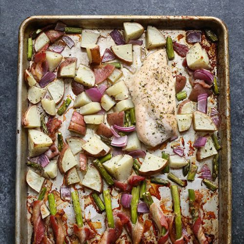 Sheet Pan Dinner - Chicken, Potatoes and Bacon Wrapped Asparagus