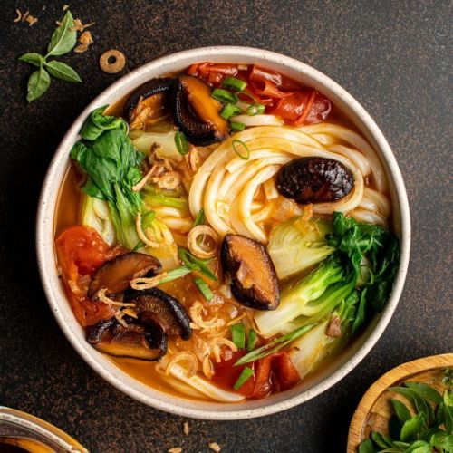 Asian style tomato soup with udon