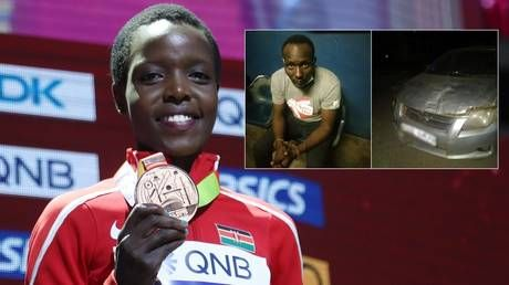 Husband of Kenyan Olympic star found stabbed to death is arrested after 'trying to flee country & ramming getaway car into truck'