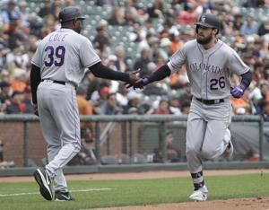 Dahl hits grand slam, drives in 5 as Rockies beat Giants