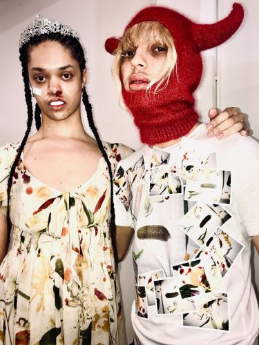 Gareth Wrighton debuted a dress made of used make-up wipes at LFW