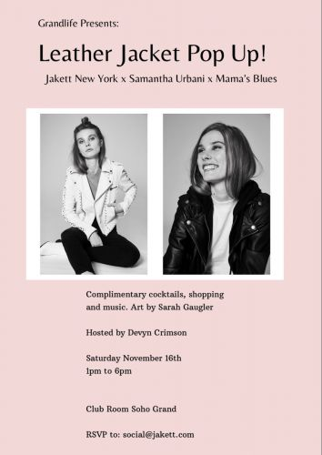 Jackett New York Presents: LEATHER JACKET POP UP at Soho Grand Hotel on November 16th