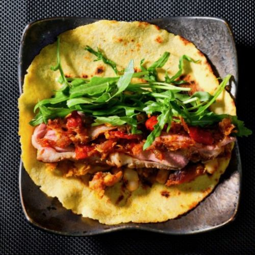 Duck pumpkin and bean tortilla. XO