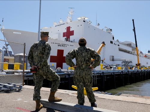 A 1,000-bed US Navy hospital ship just docked in Los Angeles to increase local healthcare capacity - see inside the USNS Mercy