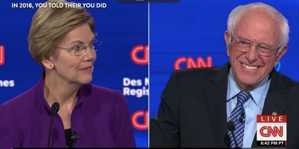 Bernie Sanders' and Elizabeth Warren's shaky truce erupted on stage at Tuesday's Democratic debate