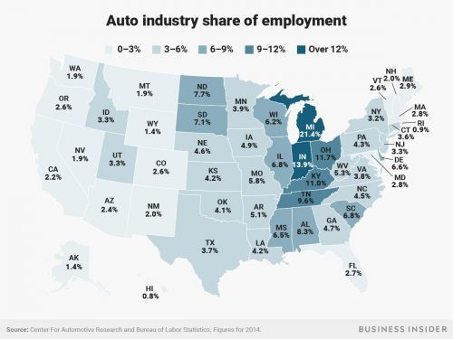 These are the states that would be wrecked by Trump's proposed tariff on cars