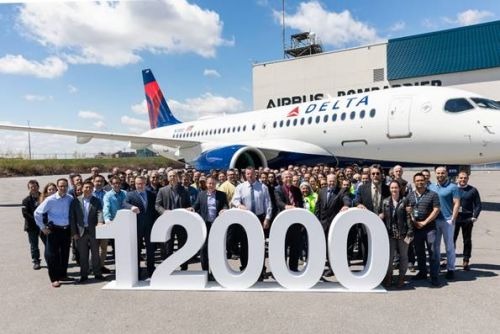 Airbus celebrates delivery of its 12,000th aircraft - an A220-100 to Delta Air Lines