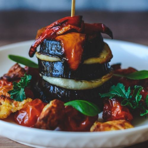 Roasted Aubergine & Halloumi Stack