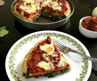 Deep Dish Spinach Stuffed Pizza