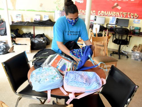 Free Backpacks Given To School Children in Dorchester