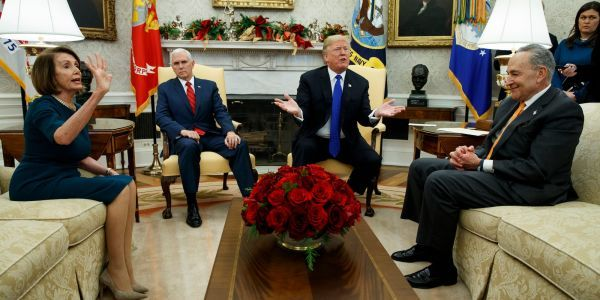 'You constantly misstate how much of the wall is built': Schumer and Pelosi confront Trump over false claims during chaotic, on-camera debate