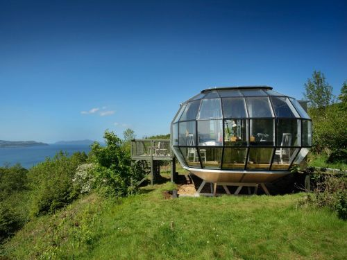 This $125,000 'Airship' tiny home looks like a spaceship and is fully self sufficient - see inside