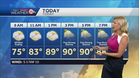 High near 90 Saturday; storms possible in afternoon, mainly south